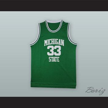 Magic Johnson 33 Michigan State Green Basketball Jersey