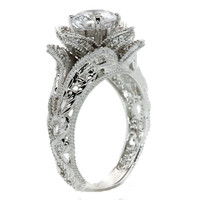 Hand Carved Vintage Inspired Blooming Rose Flower CZ Cubic Zirconia Engagement Ring