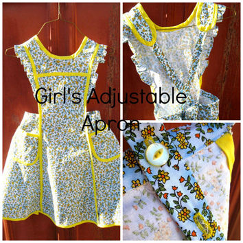 Girl's Adjustable Apron With Pockets - Size 8-10 - With Ruffles - Child's Full Apron - Retro Style - Flower's Apron -  Girl's Christmas Gift