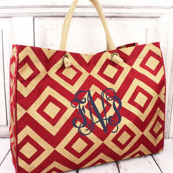 Monogrammed Red and Gold Juco Bag - Prepacked Hospital Labor Bag - Maternity Bag - Travel Bag - Overnight Bag - Personalized Bag