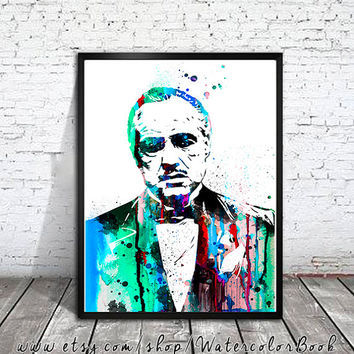 Godfather Watercolour Painting Print, watercolor painting, watercolor art, Illustration, Godfather poster, Celebrity Portraits, art print