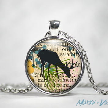 Deer Necklace, Mixed Media Collage Background, Glass Photo Jewelry, Antlers, Nature