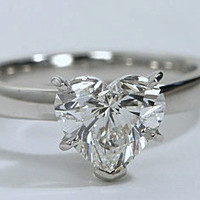 1.71ct G-SI1 Heart Shape Diamond Engagement Ring Solitaire 18kt White Gold Anniversary Bridal