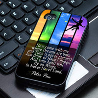 Hard Plastic Case - Rainbow Disney Peter Pan Quote - iPhone 4/4s, iPhone 5, iPhone 5s, iPhone 5c, Samsung S2, S3, S4