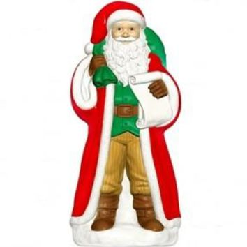 Old World Santa Claus , Lighted Plastic Blow Mold, Light Up Outdoor Yard Christmas Decoration