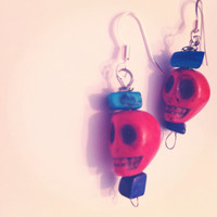 Red and Blue Skull Earrings