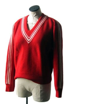Vintage Red Nordic Wool Sweater Charles Wolf 1970s Made in Norway