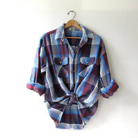 Vintage Plaid Flannel / Grunge Shirt / Thick cotton button up shirt