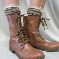 Miss Tori lace boot socks -The socks your combat boots can't live without -Tweed lace slouch socks peeking from the top of your boots