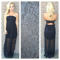 Lace Scallop Maxi Dress - BLACK