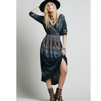Free People She's a Lady Printed Dress (Color Jade)