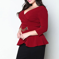 PLUS SIZE GOLD BELT WRAPPED TOP