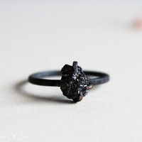 Alternative engagement ring Black Diamond Ring Sterling silver oxidized ring - Black Rough Diamond