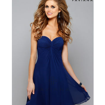 Preorder - Faviana 7650 Navy Strapless Sweetheart Chiffon Short Dress 2015 Homecoming Dresses