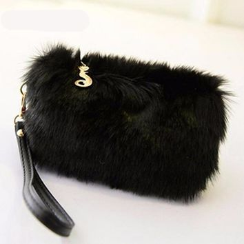 Fur Clutch Female Tote Wristlet Party Bags
