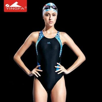 Yingfa Professional competition sports one piece triangle  waterproof swimwear women's training swimwear bathing suit
