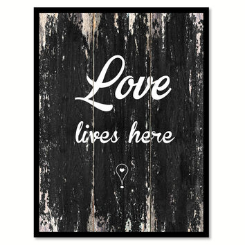 Love lives here Romantic Quote Saying Canvas Print with Picture Frame Home Decor Wall Art