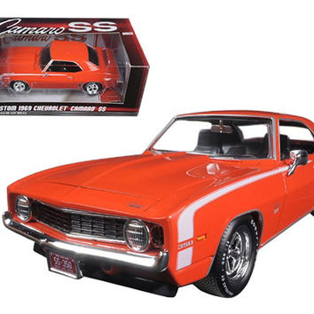 Custom 1969 Chevrolet Camaro SS Orange Limited Edition to 750pc 1-24 Diecast Model Car by Autoworld