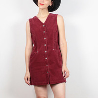 Vintage 90s Dress Burgundy Red Corduroy Dress GAP Dress Micro Mini Dress Overalls Jumper Dress 1990s Dress Soft Grunge Dress Shirt S Small