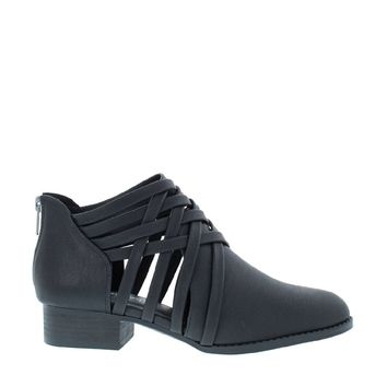 Woven Strappy Bootie (BLACK)