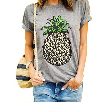 Pineapple Pattern Summer Fashion Style Lovely Women T - shirt