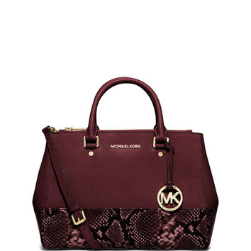 Sutton Medium Snake-Print-Trim Satchel Bag, Merlot - MICHAEL Michael Kors