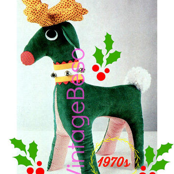PDF PATTERN • Reindeer SEWING Pattern • Rudolph • the Red Nose Reindeer • Winter Animal 1970s Vintage Christmas Pattern Digital Toy Pattern