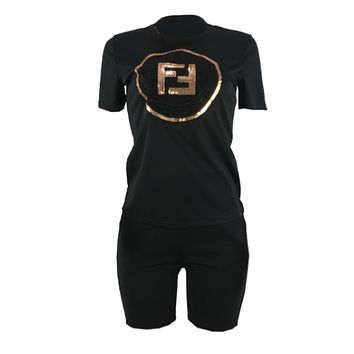 Fendi New Fashion Summer Bust Sequin Letter And Shorts String Mark Letter Print Sports Leisure Two Piece Suit Top And Shorts Women Black