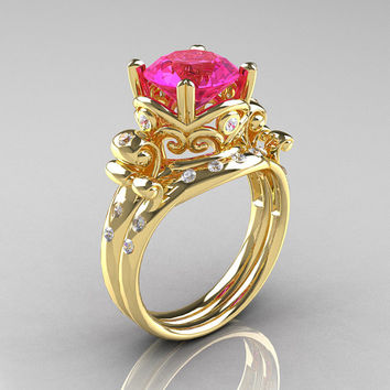 Art Masters Vintage 14K Yellow Gold 3.0 Ct Pink Sapphire Diamond Wedding Ring Set R167S-14KYGDPS