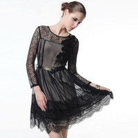 Slim Lace Stitching Chiffon Dress MXK09H - Designer Shoes|Bqueenshoes.com
