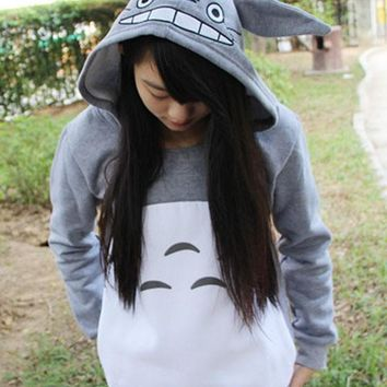 Grey-White Patchwork Cartoon Totoro Print Thick Cute Casual Hooded Pullover Sweatshirt