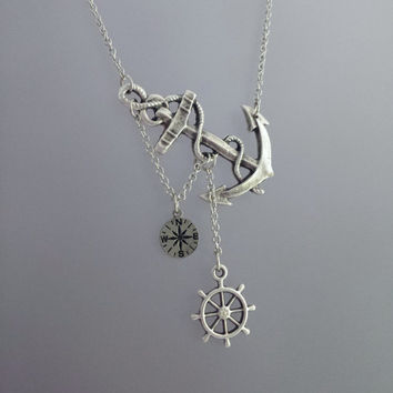 Lost at Sea Necklace by SBC, Antique Silver Anchor, Compass Charm, Ship Wheel, Antique Silver Chain, Compass Necklace, Anchor with Compass