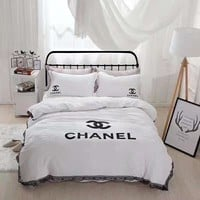 Chanel Duvet cover Blanket Quilt coverlet Pillow shams 4 PC Bedding SET