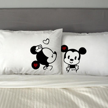 Minnie Mouse Kissing Mickey Mouse Disney Couples Rectangular Pillow Cover, Pillow Case, Cotton Pillow, Romantic Pillow, Couples Case