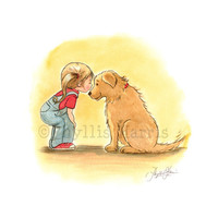 First Love Illustration - Little Girl and Golden Retriever - Beloved Pet Art
