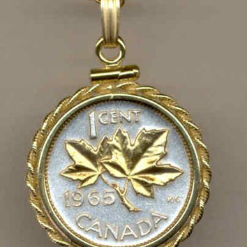 Gorgeous 2-Toned Gold on Silver Canadian  Maple leaf,  Coin Necklaces