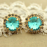 Crystal stud big Aqua blue earring  14k plated gold by iloniti