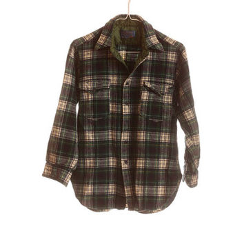 VINTAGE PENDLETON 100% Pure Virgin Wool Flannel Shirt 1960s Authentic MacRaeTartan S / XS Men