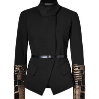 Donna Karan New York - Convertible Collar Jacket with Embroidered Cuffs