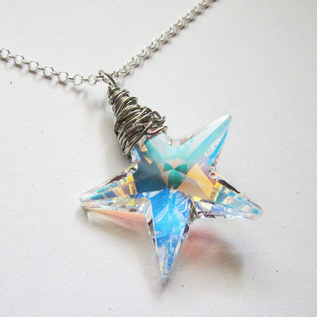 Crystal Star Necklace Sterling Silver Aurora Borealis Swarovski Clear Crystal Star Pendant Necklace North Pole Star, big star necklace