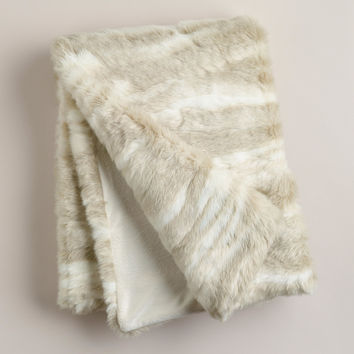 Ivory Faux Fur Throw - World Market