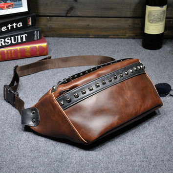 sports rivet leather small bag