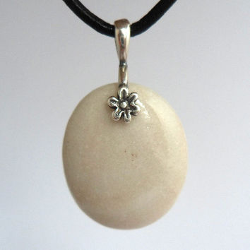Ikarian Small White Pebble Necklace, Silver Bail, Stone Pendant Jewelry