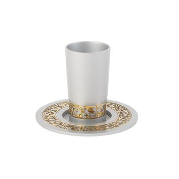 Kiddush Cup & Plate Decorated Set