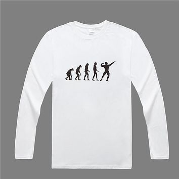 Men T Shirt Cotton Long Sleeve Evolution T-shirt