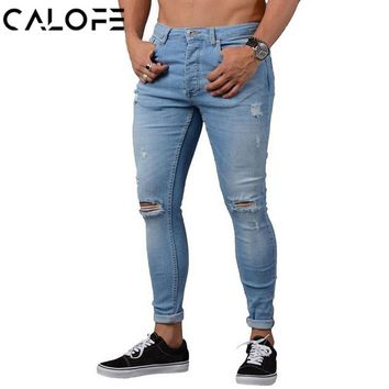 CALOFE Skinny Blue Jeans Men Autumn Vintage Denim Pencil Pants Casual Stretch Trousers 2018 Sexy Hole Ripped Male Zipper Jeans