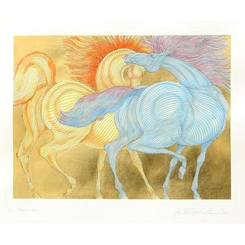Tryst - Limited Edition Etching on Paper Hand Embellished with Watercolor Paint and Gold Leaf by Guillaume Azoulay