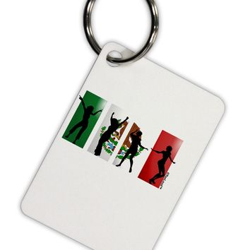 Mexican Flag - Dancing Silhouettes Aluminum Keyring Tag by TooLoud