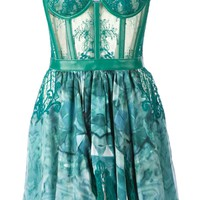 Kristian Aadnevik lace and print strapless dress