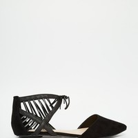 New Look Wide Fit Tie Up Pointed Flats at asos.com